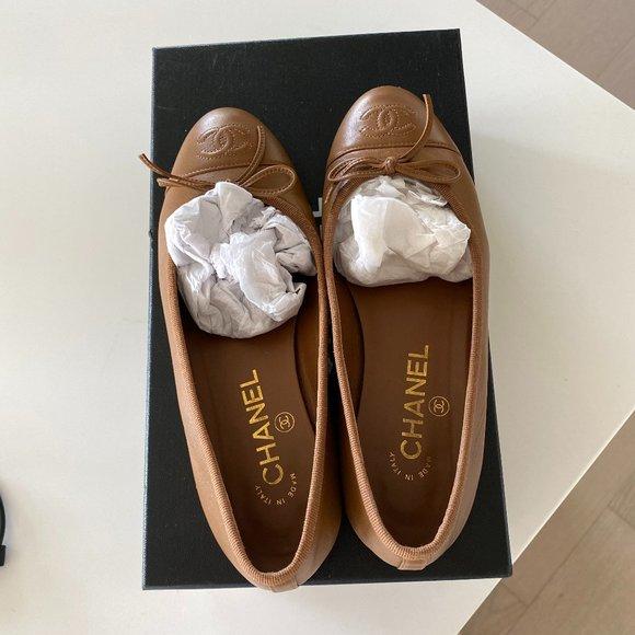 Chanel Dark Brown Ballet Flats Worn 3x